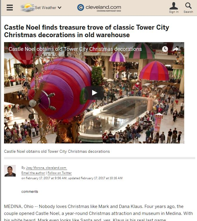 Castle Noel finds treasure trove of classic Tower City Christmas decorations in old warehouse - Castle Noel
