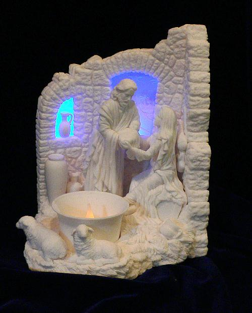 Nativity Scene with Flameless Votive