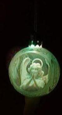 Hand-Sculpted Frosted LED Lit Christmas Tree Globe Ornament Set