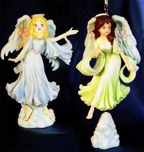 2 Anime Painted Christmas Angel Ornament Set
