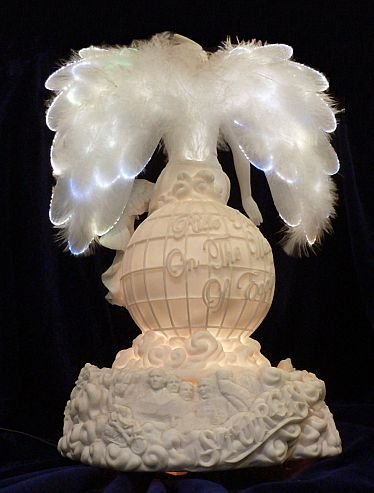Angel Figurine Porcelain Biker Angel Rotating Fiber